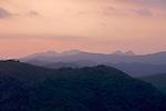 Sunset on Topes de Collantes, and  Escambray Mountains range seen from Trinidad city