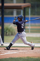 New York Yankees catcher Eduardo Navas (24) follows through on a swing during a minor league Spring Training game against the Toronto Blue Jays on March 30, 2017 at the Englebert Complex in Dunedin, Florida.  (Mike Janes/Four Seam Images)