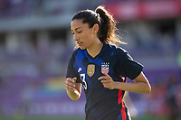 ORLANDO CITY, FL - FEBRUARY 21: Christen Press #23 of the USWNT heads to the corner flag during a game between Brazil and USWNT at Exploria Stadium on February 21, 2021 in Orlando City, Florida.