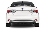 Straight rear view of a 2015 Hyundai Sonata  Hybrid 4 Door Sedan stock images