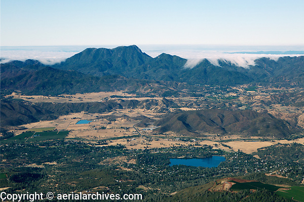 aerial photograph of Hidden Valley Lake, Lake County, California toward Mount St. Helena