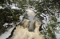 The carved potholes section of the Presque Isle River in the Porcupine Mountains on a winter day.