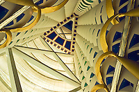 Dubai, United Arab Emirates. Interior of Burj al Arab Hotel at Jumeira Beach designed by Thomas Wills Wright, architect, of W. S. Atkins.