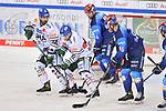 Scott Valentine (Nr.22 - Augsburger Panther), Thomas Holzmann (Nr.17 - Augsburger Panther), Brandon DeFazio (Nr.24 - ERC Ingolstadt) und Daniel Pietta (Nr.86 - ERC Ingolstadt) vor Torwart Olivier Roy (Nr31 - Augsburger Panther) beim Spiel in der Gruppe Sued der DEL, ERC Ingolstadt (dunkel) - Augsburger Panther (hell).<br /> <br /> Foto © PIX-Sportfotos *** Foto ist honorarpflichtig! *** Auf Anfrage in hoeherer Qualitaet/Aufloesung. Belegexemplar erbeten. Veroeffentlichung ausschliesslich fuer journalistisch-publizistische Zwecke. For editorial use only.