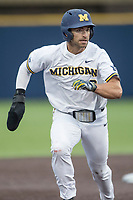 Michigan Wolverines outfielder Jonathan Engelmann (2) runs to third base against the Michigan State Spartans on May 19, 2017 at Ray Fisher Stadium in Ann Arbor, Michigan. Michigan defeated Michigan State 11-6. (Andrew Woolley/Four Seam Images)