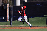 GREENSBORO, NC - FEBRUARY 25: Dan Ryan #10 of Fairfield University loses his helmet while running to second base while hitting a double during a game between Fairfield and UNC Greensboro at UNCG Baseball Stadium on February 25, 2020 in Greensboro, North Carolina.