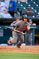 Lehigh Valley IronPigs second baseman Heiker Meneses (3) runs to first base after laying down a bunt during a game against the Buffalo Bisons on June 23, 2018 at Coca-Cola Field in Buffalo, New York.  Lehigh Valley defeated Buffalo 4-1.  (Mike Janes/Four Seam Images)
