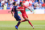 Mohamed Saad Alromaihi of Bahrain (R) fights for the ball with Adison Promrak of Thailand during the AFC Asian Cup UAE 2019 Group A match between Bahrain (BHR) and Thailand (THA) at Al Maktoum Stadium on 10 January 2019 in Dubai, United Arab Emirates. Photo by Marcio Rodrigo Machado / Power Sport Images