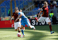 Calcio, Serie A: Roma vs Napoli. Roma, stadio Olimpico, 25 aprile 2016.<br /> Napoli's Dries Mertens, left, is chased by Roma's Miralem Pjanic during the Italian Serie A football match between Roma and Napoli at Rome's Olympic stadium, 25 April 2016.<br /> UPDATE IMAGES PRESS/Riccardo De Luca