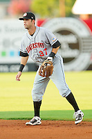 Second baseman Jeff Kobernus #37 of the Hagerstown Suns on defense against the Greensboro Grasshoppers at NewBridge Bank Park July 30, 2010, in Greensboro, North Carolina.  Photo by Brian Westerholt / Four Seam Images