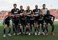 10 October 2009:Starting eleven of the San Jose Earthquakes during MLS action at BMO Field Toronto in a game between San Jose Earthquakes and Toronto FC..The final score was 1-1. .