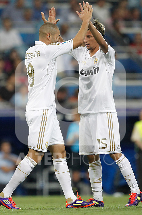 Real Madrid's Karim Benzema celebrates goal with Fabio Coentrao during Santiago Bernabeu Cup on august 24th 2011...Photo: Cesar Cebolla / ALFAQUI