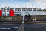 Boro fans walking their dogs pause for a view of The Riverside stadium Middlesbrough. 16th January 2021, Middlesbrough 0 Birmingham 1.