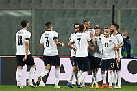 Stephan El Shaarawy of Italy (3R) celebrates with team mates after scoring a goal during the friendly football match between Italy and Moldova at Artemio Franchi Stadium in Firenze (Italy), October, 7th 2020. Photo Andrea Staccioli/ Insidefoto