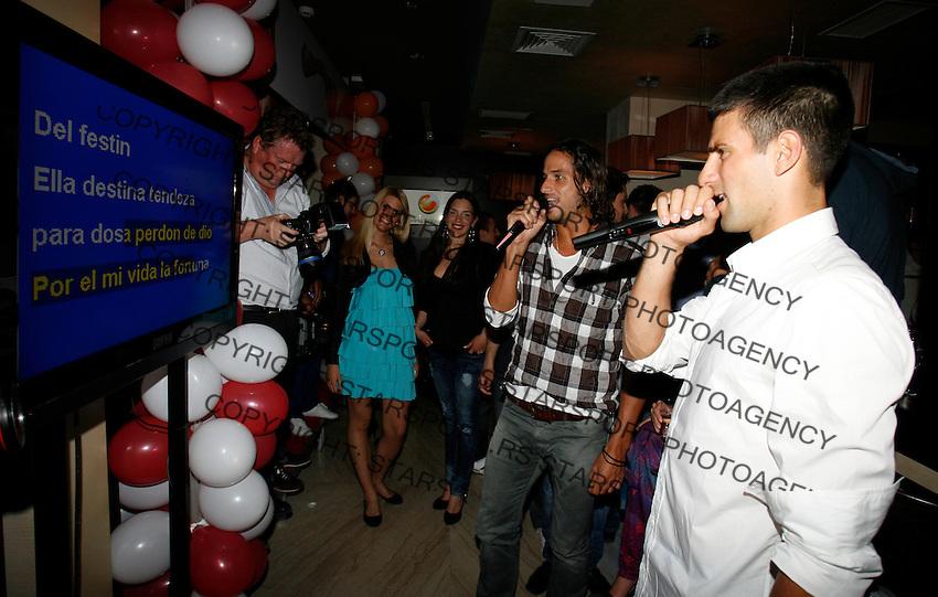 "Feliciano Lopez,  Novak Djokovic, Players Party, Novak restaurant, ATP 250 series tennis tournament ""Serbia Open"" in Belgrade, Serbia, Tuesday, April 26. 2011. (photo: Pedja Milosavljevic / SIPA PRESS)"