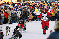 Lance Mackey, the 2007 Iditarod champion, arrives in Nome