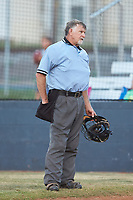 Home plate umpire Dickie Peeler works the game between the Dry Pond Blue Sox and the Mooresville Spinners at Moor Park on July 2, 2020 in Mooresville, NC.  The Spinners defeated the Blue Sox 9-4. (Brian Westerholt/Four Seam Images)