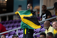 ORLANDO, FL - JULY 20: Jamaica fan attending the match during a game between Costa Rica and Jamaica at Exploria Stadium on July 20, 2021 in Orlando, Florida.