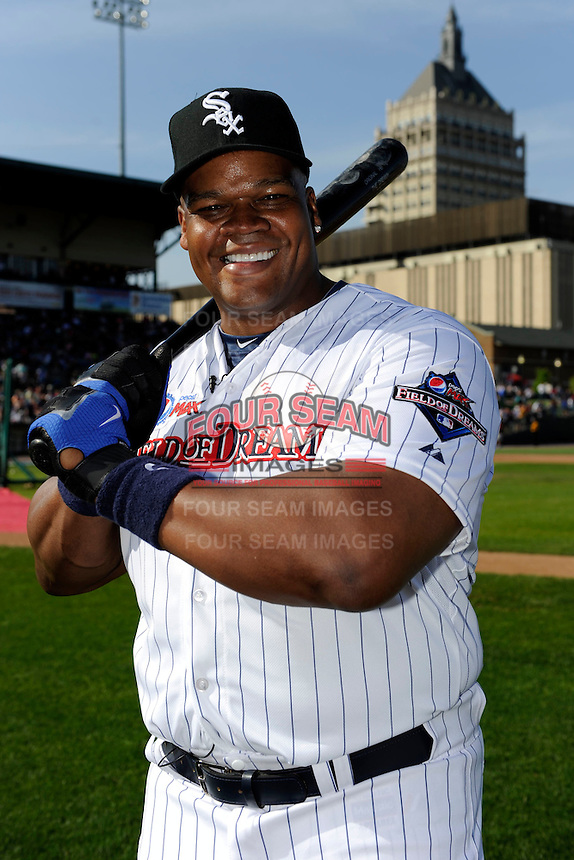 Former Chicago White Sox first baseman Frank Thomas #35 poses for a photo before the MLB Pepsi Max Field of Dreams game on May 18, 2013 at Frontier Field in Rochester, New York.  (Mike Janes/Four Seam Images)