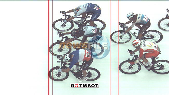 Photo finish between French Champion Arnaud Demare (FRA) Groupama-FDJ, Peter Sagan (SVK) Bora-Hansgrohe and Davide Ballerini (ITA) Deceuninck-Quick Step at the end of Stage 4 of the 103rd edition of the Giro d'Italia 2020 running 140km from Catania to Villafranca Tirrena, Sicily, Italy. 6th October 2020.   <br /> Picture: Tissot | Cyclefile<br /> <br /> All photos usage must carry mandatory copyright credit (© Cyclefile | Tissot)