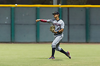 AZL Indians 2 right fielder Pablo Jimenez (29) throws to second base during an Arizona League game against the AZL Cubs 2 at Sloan Park on August 2, 2018 in Mesa, Arizona. The AZL Indians 2 defeated the AZL Cubs 2 by a score of 9-8. (Zachary Lucy/Four Seam Images)