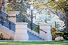 April 27, 2020; Main Building steps (Photo by Matt Cashore/University of Notre Dame)