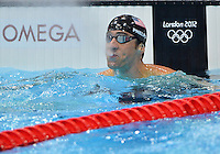 August 02, 2012..Michael Phelps reacts after competing in Men's 100m Butterfly Semifinal at the Aquatics Center on day six of 2012 Olympic Games in London, United Kingdom.