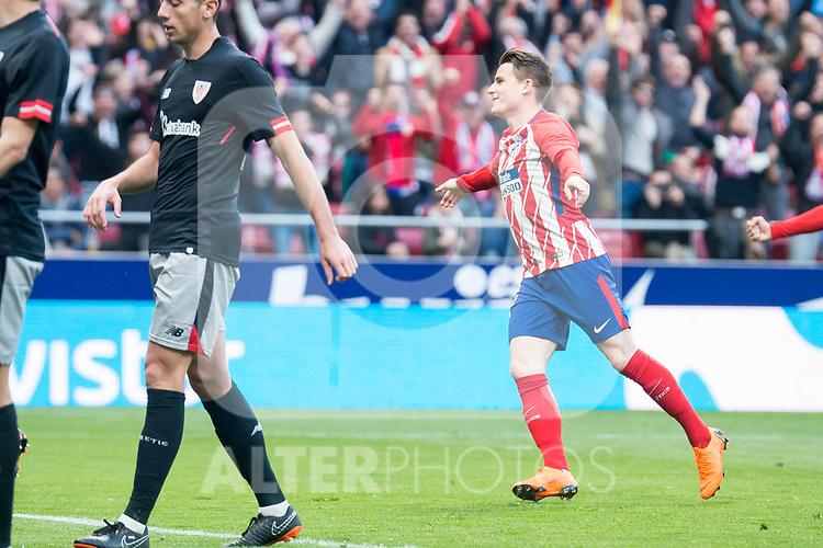 Atletico de Madrid Kevin Gameiro and Sime Vrsaljko celebrating a goal during La Liga match between Atletico de Madrid and Athletic Club and Wanda Metropolitano in Madrid , Spain. February 18, 2018. (ALTERPHOTOS/Borja B.Hojas)