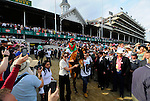 Animal Kingdom, trained by Graham Motion, is led onto the track before winning the 137th running of the Kentucky Derby at Churchill Downs in Louisville, Kentucky on May 7, 2011.
