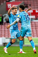 21st April 2021; Bet365 Stadium, Stoke, Staffordshire, England; English Football League Championship Football, Stoke City versus Coventry; Tyler Walker of Coventry City celebrates scoring a 43rd minute goal for 0-1