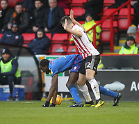 Bolton Wanderers Clayton Donaldson  battles with  Sheffield United's John Egan<br /> <br /> Photographer Mick Walker/CameraSport<br /> <br /> The EFL Sky Bet Championship - Sheffield United v Bolton Wanderers - Saturday 2nd February 2019 - Bramall Lane - Sheffield<br /> <br /> World Copyright © 2019 CameraSport. All rights reserved. 43 Linden Ave. Countesthorpe. Leicester. England. LE8 5PG - Tel: +44 (0) 116 277 4147 - admin@camerasport.com - www.camerasport.com
