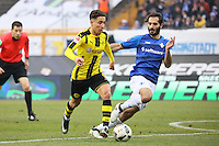 Emre Mor (Borussia Dortmund) gegen Hamit Altintop (SV Darmstadt 98)- 11.02.2017: SV Darmstadt 98 vs. Borussia Dortmund, Johnny Heimes Stadion am Boellenfalltor