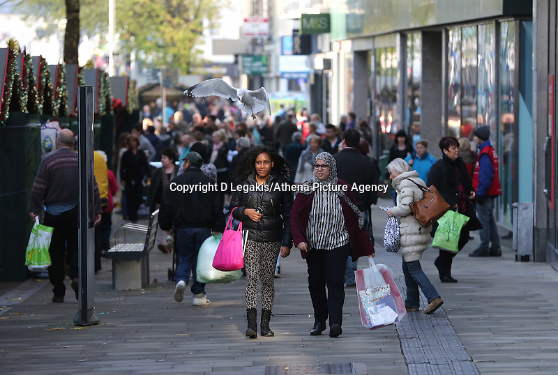 Pictured: A seagull on a low flight amongst shoppers in Oxford Street, Swansea, south Wales. Friday 28 November 2014<br /> Re: Black Friday pre-Christmas shopping rush all over the UK.