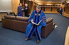 May 15, 2016; Laetare Medal recipient John Boehner, former Speaker of the House, reads over his speech while waiting in the locker room before the 2016 Commencement ceremony at Notre Dame Stadium. (Photo by Barbara Johnston/University of Notre Dame)