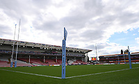 30th August 2020; Kingsholm Stadium, Gloucester, Gloucestershire, England; English Premiership Rugby, Gloucester versus Leicester Tigers; empty Kingsholm stadium before kick off due to covid-19 pandemic