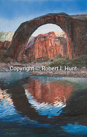 """The naturally formed stone arch Rainbow Bridge at Lake Powell, Utah, sacred site to the Pueblo, Paiute, and Navajo American Indians. Oil on canvas, 28"""" x 18""""."""