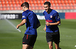 Atletico de Madrid's Alvaro Morata (l) and Jose Maria Gimenez during training session. July 2,2020.(ALTERPHOTOS/Atletico de Madrid/Pool)