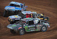 Mar. 20, 2011; Chandler, AZ, USA;  LOORRS pro two driver Marty Hart (15) leads Greg Adler (10) and Robby Woods during round two at Firebird International Raceway. Mandatory Credit: Mark J. Rebilas-
