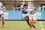 Ming-kuang Shen (l) of Chinese Taipei runs with the ball during the match between Sri Lanka and Chinese Taipei of the Asia Rugby U20 Sevens Series 2016 on 12 August 2016 at the King's Park, in Hong Kong, China. Photo by Marcio Machado / Power Sport Images