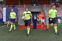 assistant referee Maria Etienne , referee Sylvie Deckers , assistant referee Romain Delree pictured during a female soccer game between Standard Femina de Liege and Dames SV Zulte Waregem on the fifth matchday of the 2020 - 2021 season of Belgian Scooore Womens Super League , saturday 17 th of October 2020  in Angleur , Belgium . PHOTO SPORTPIX.BE | SPP | STIJN AUDOOREN