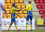 St Johnstone v Brechin City…10.10.20   McDiarmid Park  Betfred Cup<br />Stevie May celebrates his hat trick with Murray Davidson<br />Picture by Graeme Hart.<br />Copyright Perthshire Picture Agency<br />Tel: 01738 623350  Mobile: 07990 594431