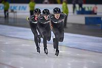 SPEEDSKATING: 24-11-2019 Tomaszów Mazowiecki (POL), ISU World Cup Arena Lodowa, Team Pursuit Men Division B (NZL), P. Michael, K. Hughes, J. Whyte, ©photo Martin de Jong