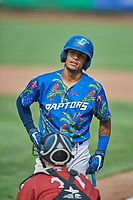 Jeremy Arocho (8) of the Ogden Raptors bats against the Idaho Falls Chukars at Lindquist Field on July 29, 2018 in Ogden, Utah. The Raptors defeated the Chukars 20-19. (Stephen Smith/Four Seam Images)