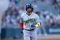 William Contreras (14) of the Gwinnett Stripers jogs towards home plate after hitting a home run against the Charlotte Knights at Truist Field on July 17, 2021 in Charlotte, North Carolina. (Brian Westerholt/Four Seam Images)