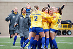 BROOKINGS, SD - MARCH 14: South Dakota State celebrates their 2-1 overtime won over Denver at Dana J. Dykhouse Stadium on March 14, 2021 in Brookings, South Dakota. (Photo by Dave Eggen/Inertia)