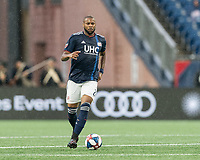 FOXBOROUGH, MA - JULY 17: Andrew Farrell #2 dribbles at midfield during a game between Vancouver Whitecaps and New England Revolution at Gillette Stadium on July 17, 2019 in Foxborough, Massachusetts.