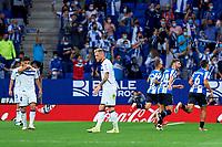 22nd September 2021: RCDE Stadium, Barcelona, Spain: La Liga Football, Espanyol versus Atletico Madrid; <br /> RCDE players celebrate goal