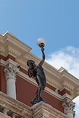 Belem, Para State, Brazil. Statue of a girl holding a lamp, detail on the Teatro da Paz - Theatre of Peace.