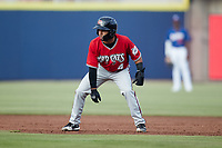 Felix Valerio (4) of the Carolina Mudcats takes his lead off of first base against the Kannapolis Cannon Ballers at Atrium Health Ballpark on June 10, 2021 in Kannapolis, North Carolina. (Brian Westerholt/Four Seam Images)