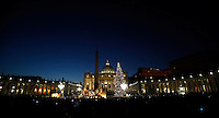 The Christmas tree and the nativity scene are pictured after the illumination ceremony in Saint Peter square at the Vatican, on December 9, 2016. <br /> UPDATE IMAGES PRESS/Isabella Bonotto<br /> <br /> STRICTLY ONLY FOR EDITORIAL USE